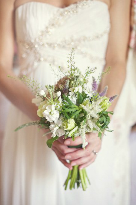 Beautifully natural, wild flowers for the bridesmaids bouquets from Reverie Magazine