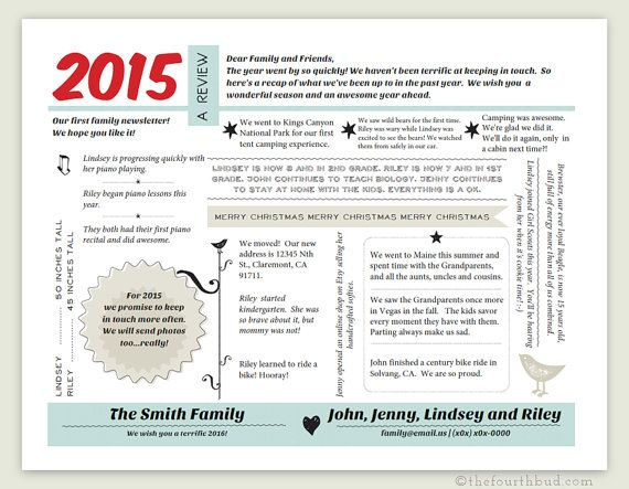 Year In Review  Christmas Letter Template In Pdf For Print  Text