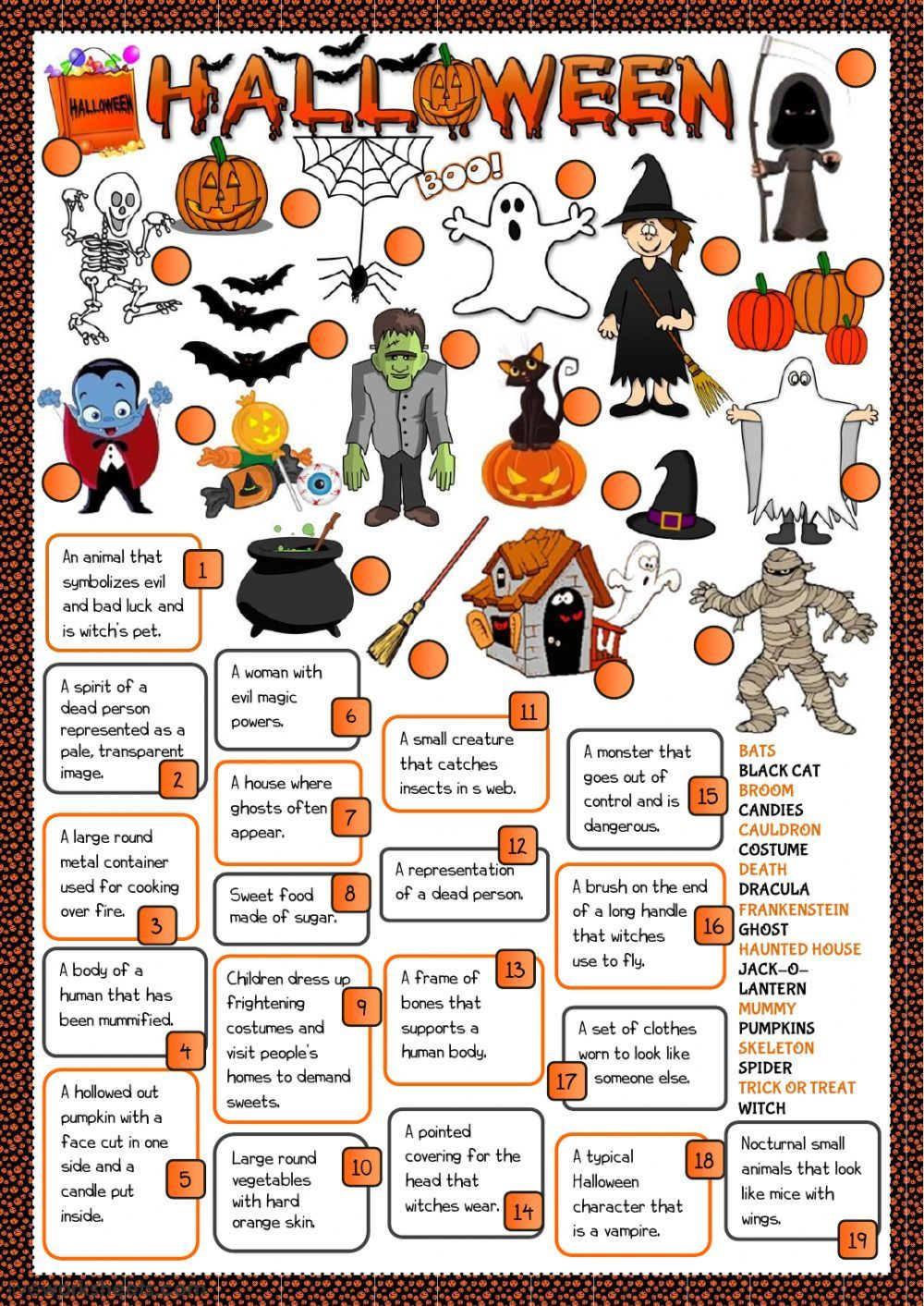Halloween Interactive And Downloadable Worksheet You Can Do The Exercises Online Or Download The Wo Halloween Worksheets Halloween Lesson Halloween Activities