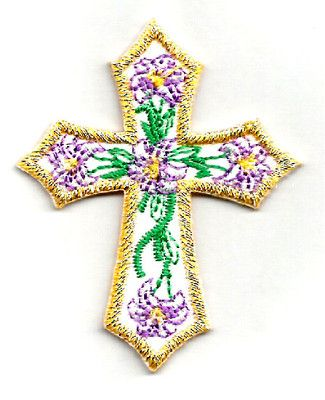 CROSS W/EMBROIDERED LILIES IRON ON APPLIQUE
