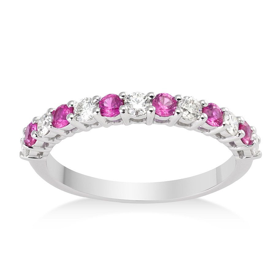 Diamond and Pink Sapphire Ring in 9k White Gold