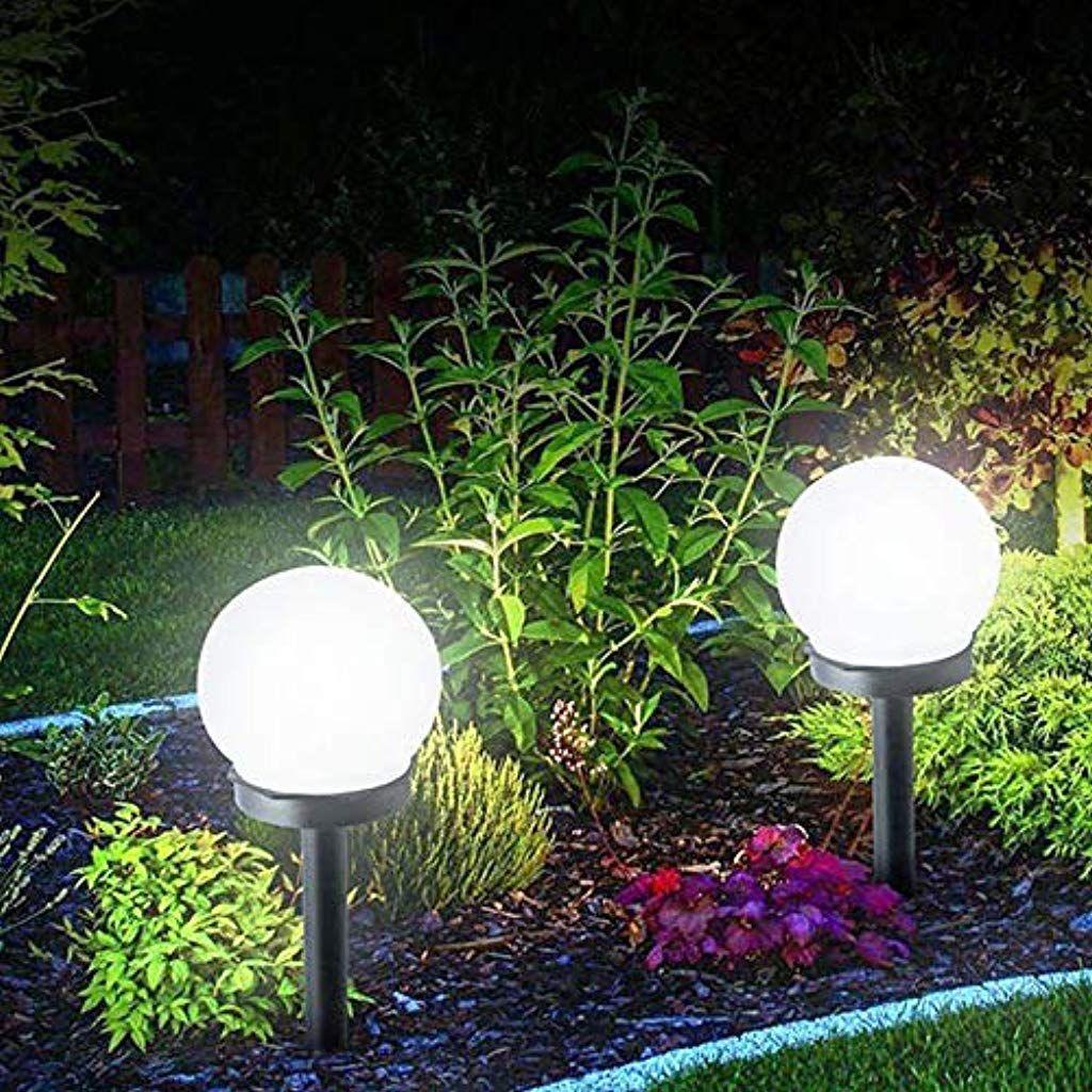 Bainuojia Solarlampe Fur Garten Aussen Led Kugel Solar Gartenleuchte Wasserdicht Mit Erdspiess Kunststof Solarleuchten Garten Rasenbeleuchtung Solarlampen Garten