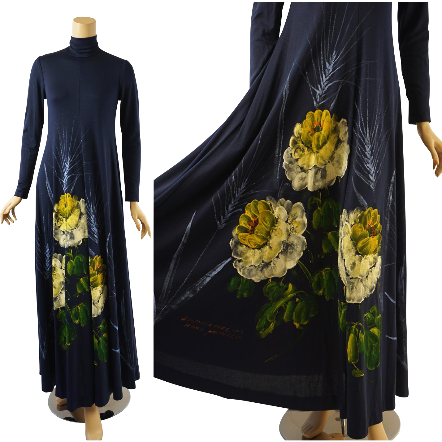 Reserved vintage s boho hippie dress hand painted by mimosa tree