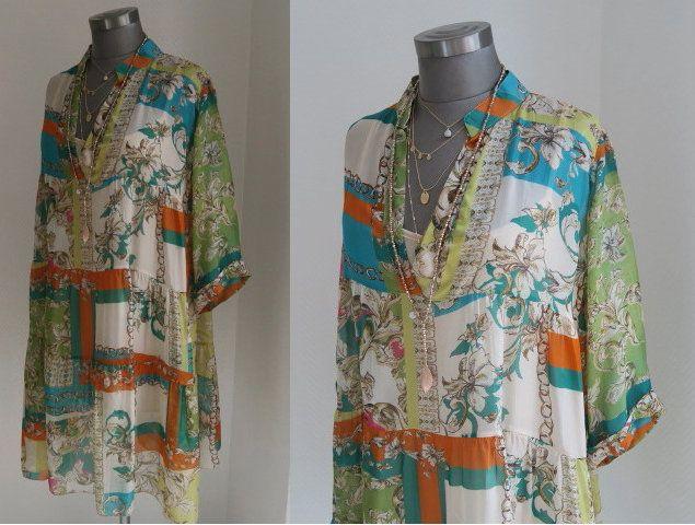 boho tunika seide, seidentunika gemustert, foulards print ...