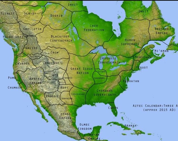 Empires of Precolonized North America Map  Maps  Pinterest