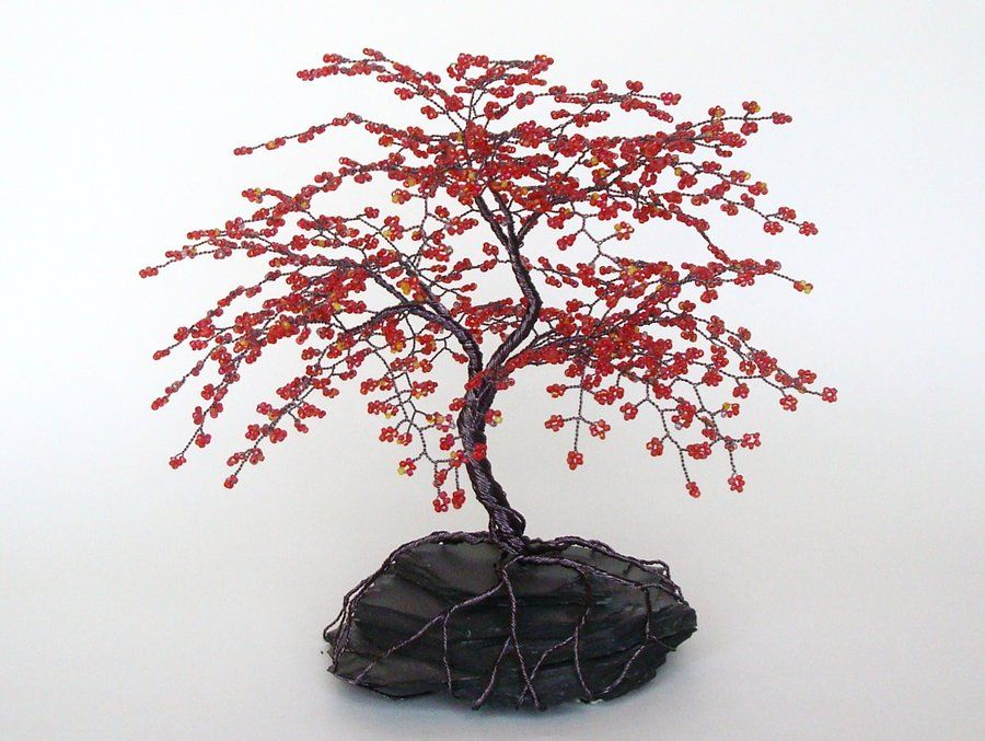 Red Cherry Blossom Beaded Tree | Bead Trees | Pinterest | Draht ...