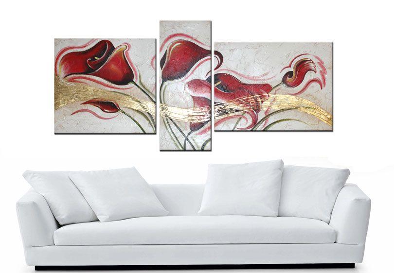 Quadri floreali dipinti a mano su tela moderni e innovativi per ...