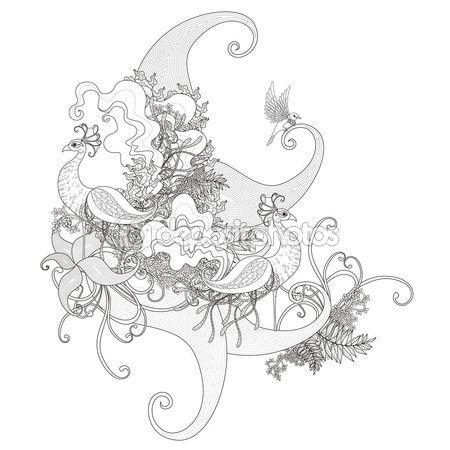 Página para colorear de pavo real atractivo — Vector de stock | M ...