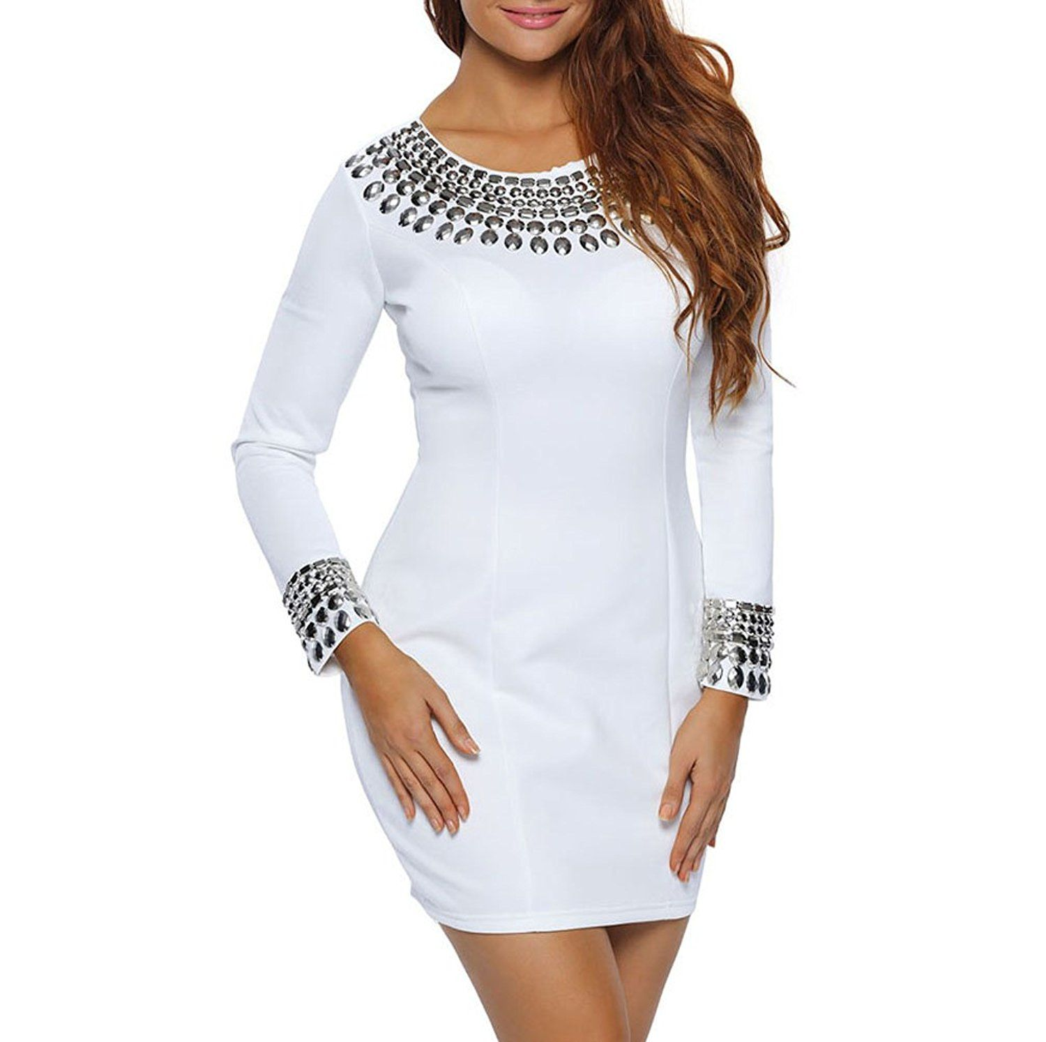 Kqrns womenus long sleeve rivets studded dress for women black