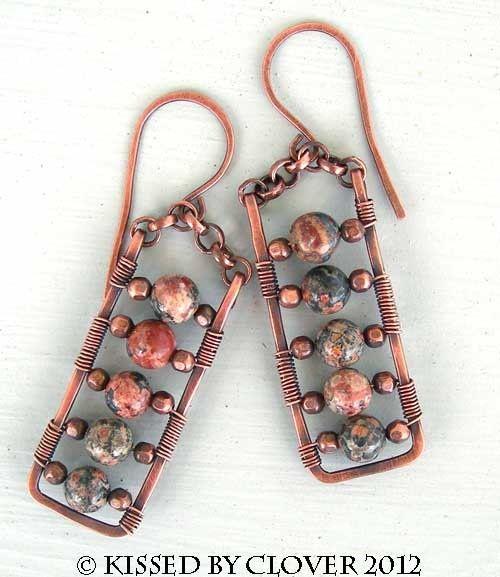 #wirework Cool wirewrapped copper earrings-leopard jasper- tribal unique indie #Jewelry