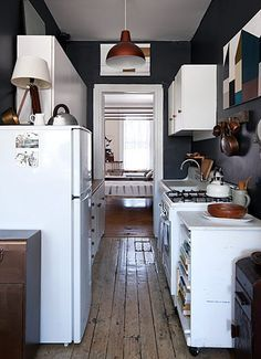 Small Galley Kitchens With White Appliances Google Search