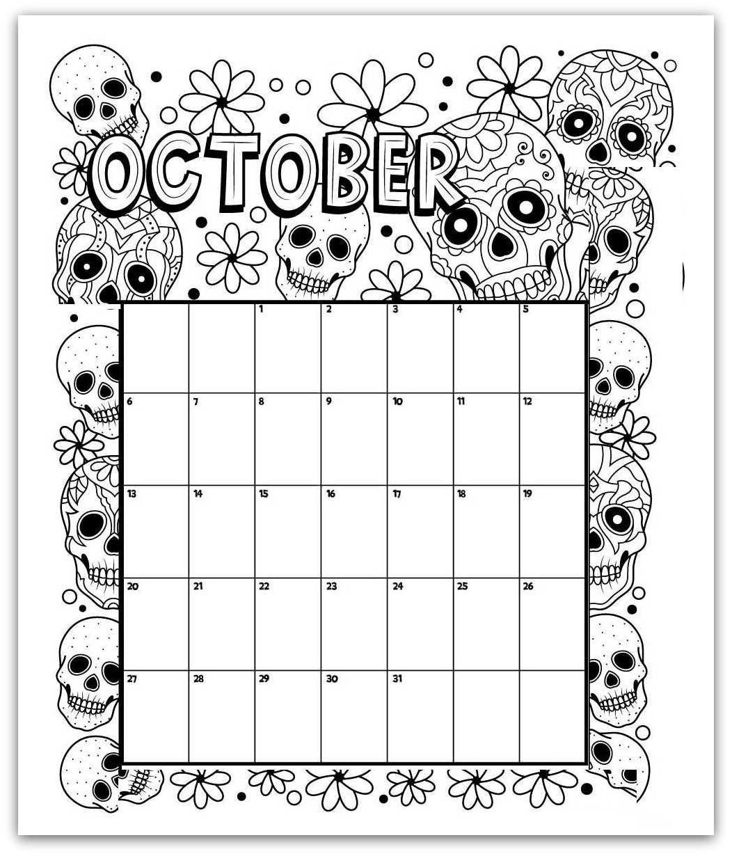 October Coloring Page Printable Calendar