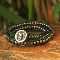 Leather and cultured pearl wrap bracelet, 'Green Honey'