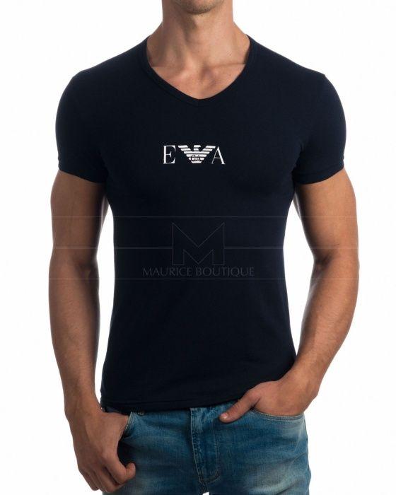 Camisetas Emporio armani cuello pico - Azul Marino