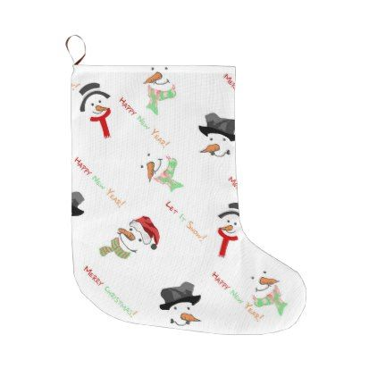 Christmas Whimsical Snowman Pattern Large Christmas Stocking ...
