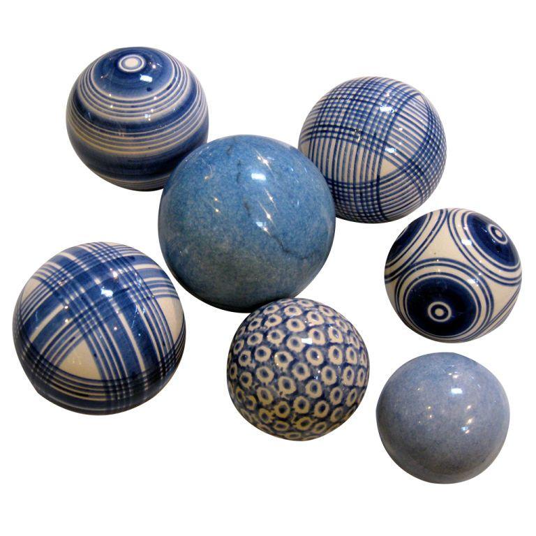 A collection of blue Scottish carpet balls.   CARPET BALLS ...