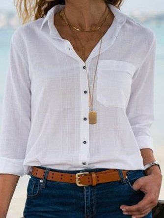 Cotton Elegant Long Sleeve Plus Size V neck Blouse