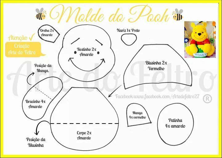 Winnie pooh | moldes | Pinterest | Felt, Felt patterns y Felt crafts