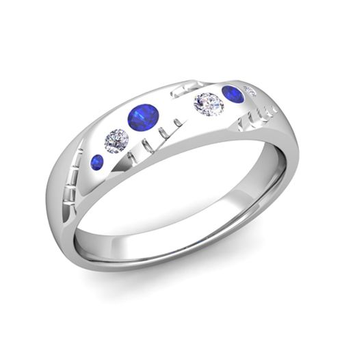 mens flush set diamond and sapphire wedding band in 14k gold 6mm this unique