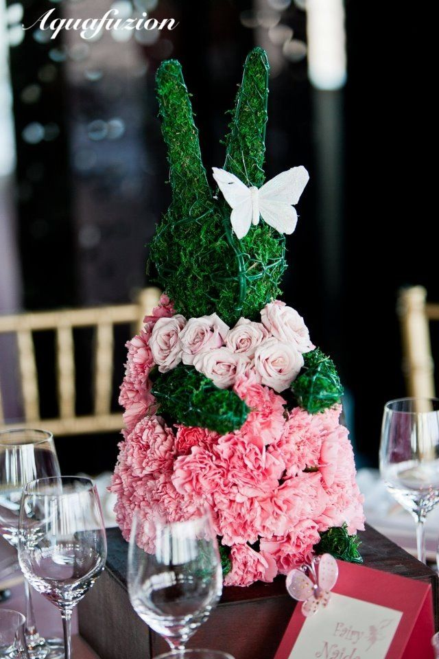 Bunny in roses. Designed by Aquafuzion. #wedding #party #birthday #decoration #centerpiece #topiary #animal #animalbouquet #flower