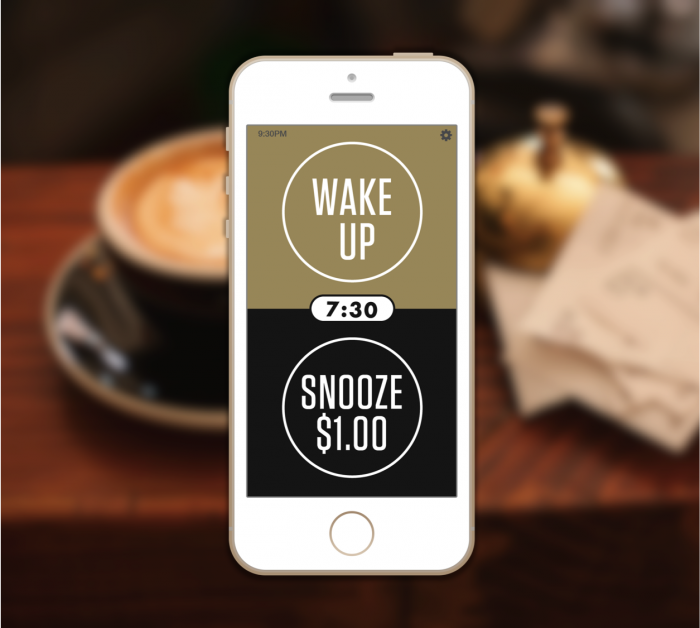 Pay 1 to hit snooze Prefundia Snoozing, Smartphone
