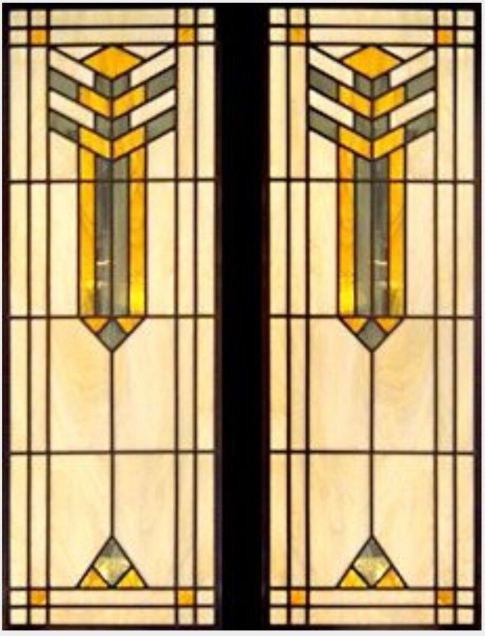 Art deco frank lloyd wright stained glass window design for Window glass design
