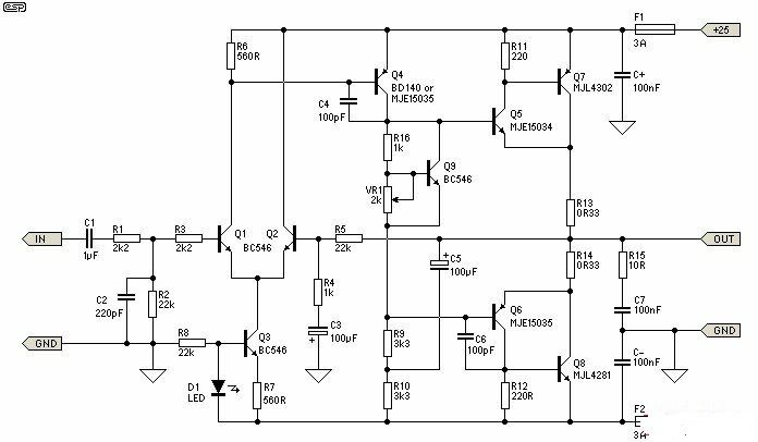 build a 25w class a power audio amplifier circuit diagram rh pinterest com au