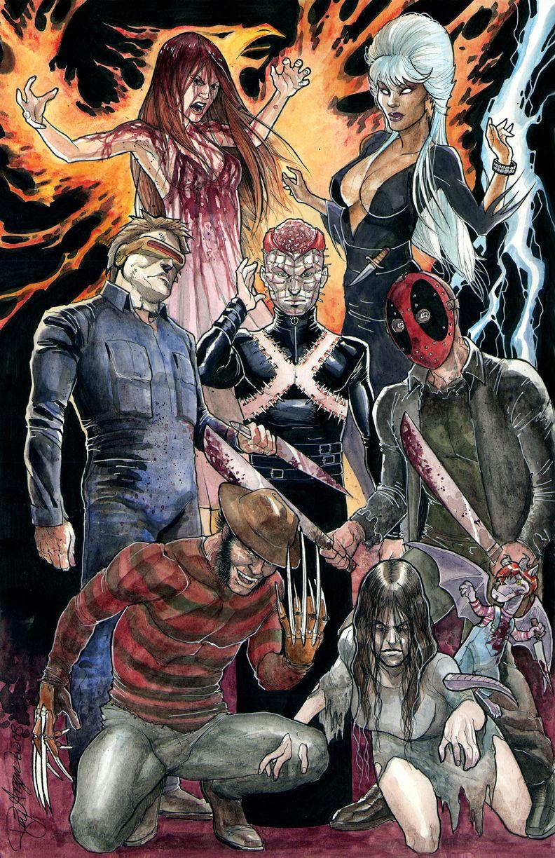 Fear Factor X Men X Horror Movie Icons By Rey Arzeno Marvel Comics Arte Del Horror Ilustraciones