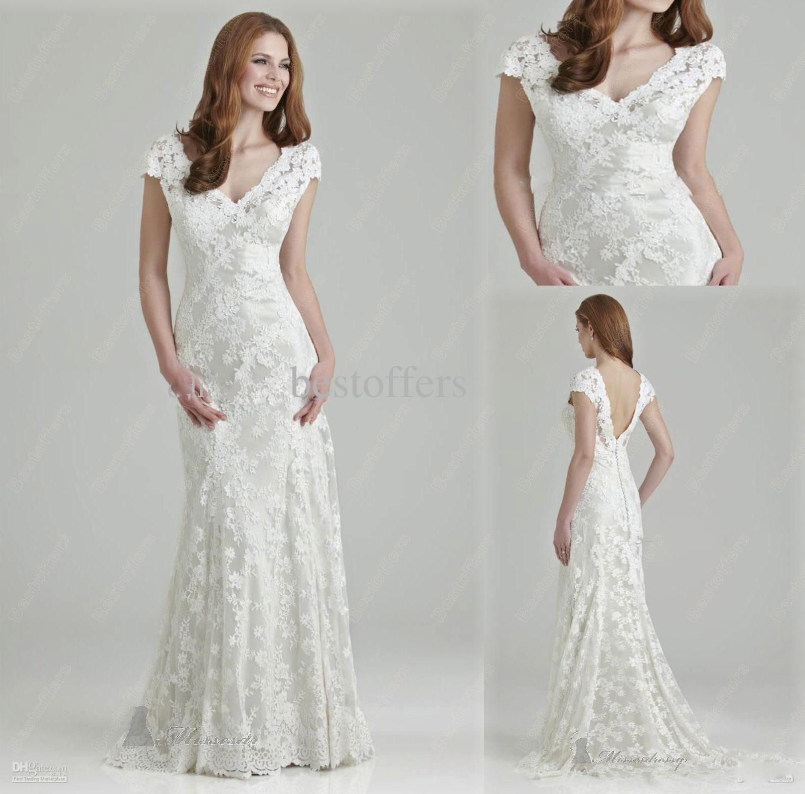 Wholesale Wedding Dress - Buy Affordable Lace Wedding Gown V-Neck A ...