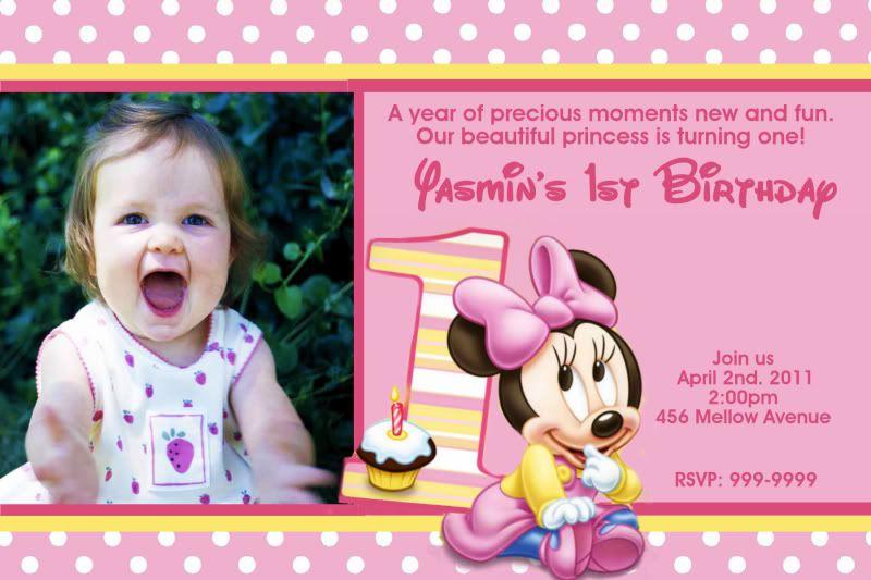 Minnie mouse 1st birthday invitation wording