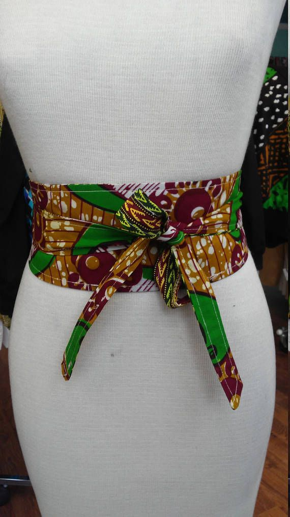 Reversible Obi Belt in African Wax Block Cotton and Dashiki Print