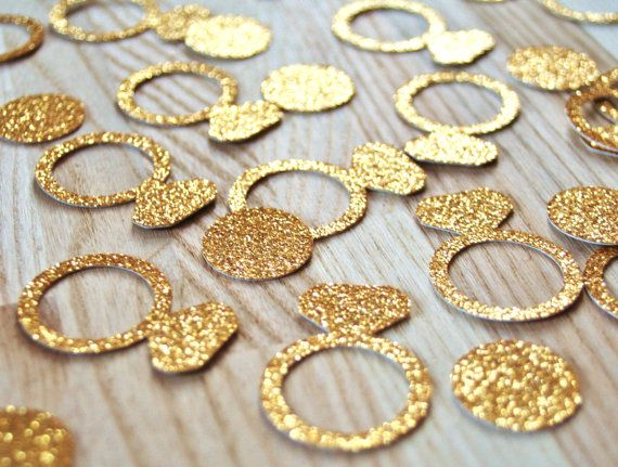 Bachelorette party decorations, Gold glitter ring confetti, 1 inch, 50 pieces total, Ring and circle confetti, Engagement party decorations