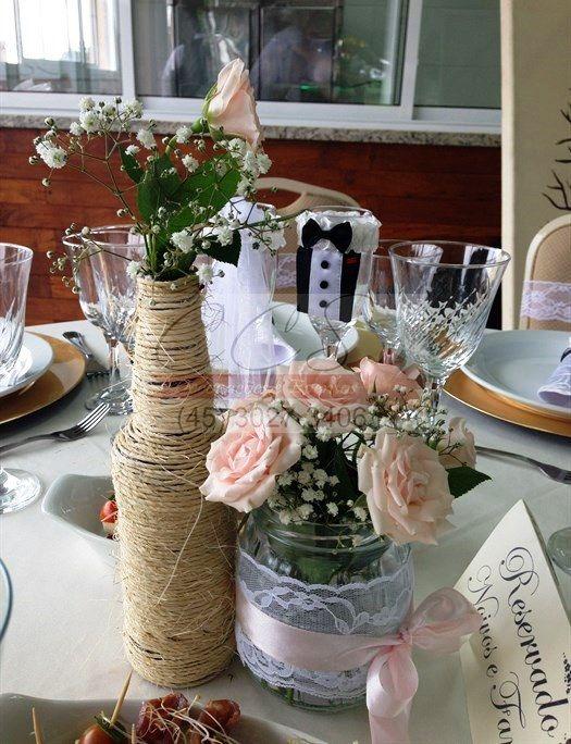 Deccora o casamento rustico ccs decora es e eventos - Centro de mesa rustico ...