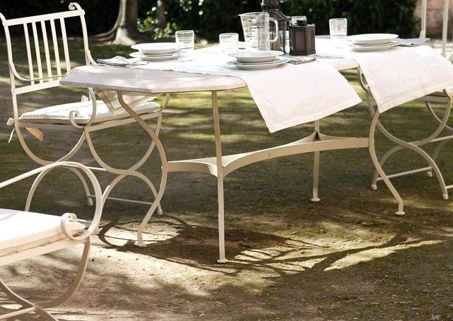 Mesa De Forja Color Blanco Roto En Tu Jardin Www Fustaiferro Com