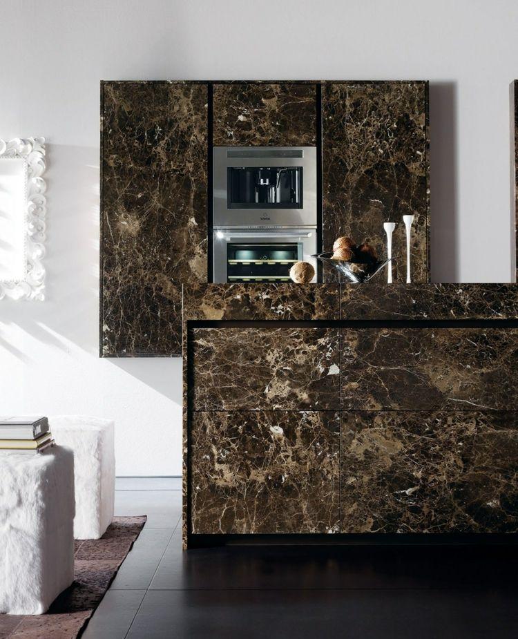 Küchenschränke aus braunem Naturstein Minimalistische Küche - naturstein arbeitsplatte küche