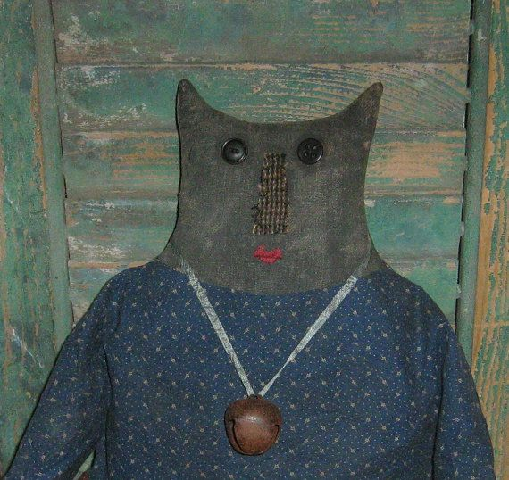 Primitive Cat Doll, handmade by Prairie Primitives Folk Art. Made in the USA!