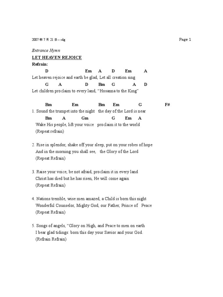 Various Mass Songs With Chords Misang Pilipino Songs Teen Choir