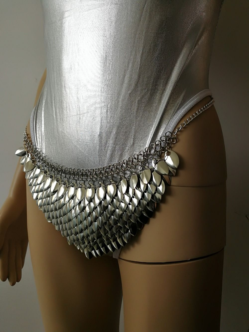 b5c175d703f8b New Fashion Style B754 Silver Scalemail Mermaid Fish Scales Loin Cloth Skirt  Chainmail Belly Chains Jewelry Layers Waist Chains on Aliexpress.com