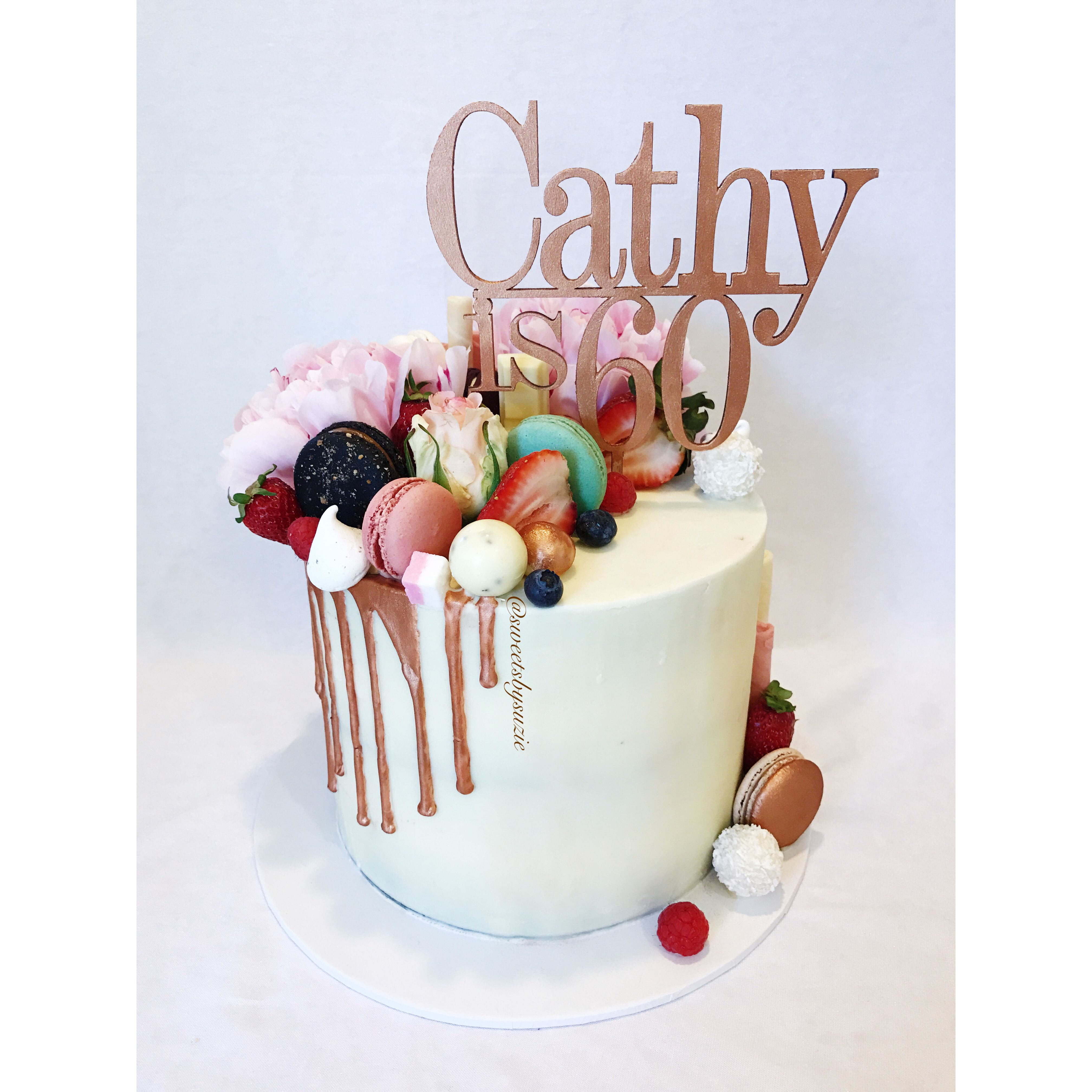 Rose Gold Drip 60th Birthday Cake Made By Sweetsbysuzie In