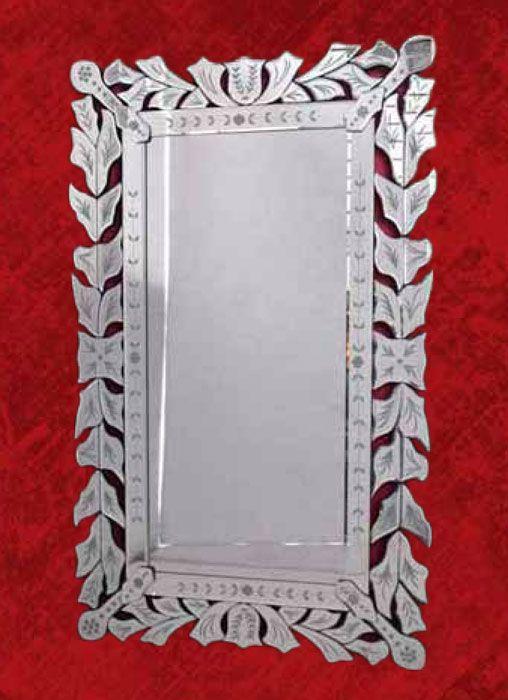 Espejo original rectangular con marco de cristal de estilo vintage ...