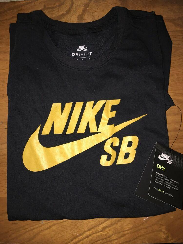 25bdd3c61 Nike SB Logo Dri-fit Skateboarding T-shirt Black/Gold Large #fashion # clothing #shoes #accessories #mensclothing #shirts (ebay link)
