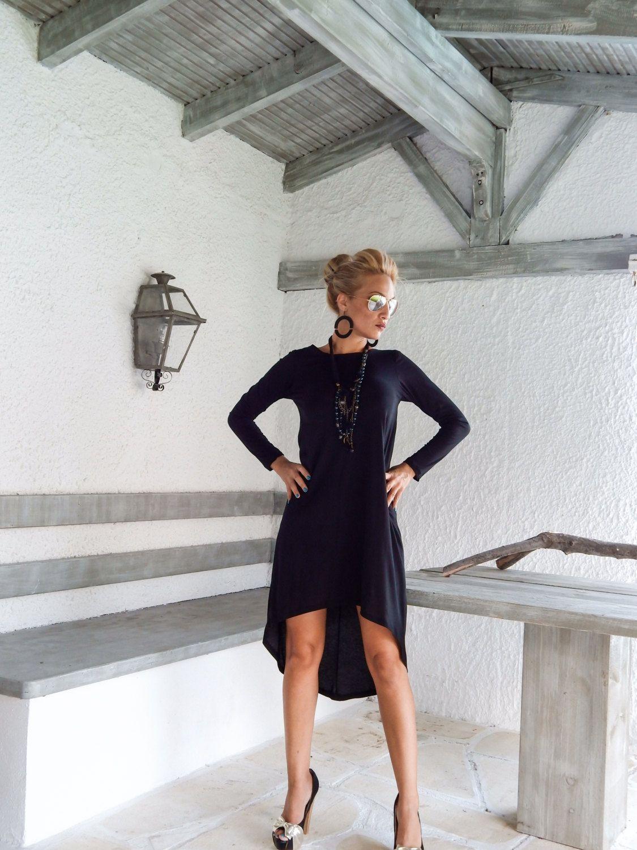 Black Women Dress Black Midi Dress Asymmetrical Dress Etsy Black Women Dress Black Dress Outfits Womens Tunic Dress [ 1500 x 1125 Pixel ]