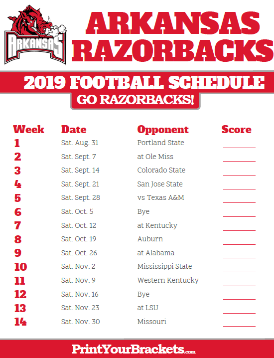 2020 Razorback Football Schedule 2019 Arkansas Razorbacks Football Schedule | Printable College