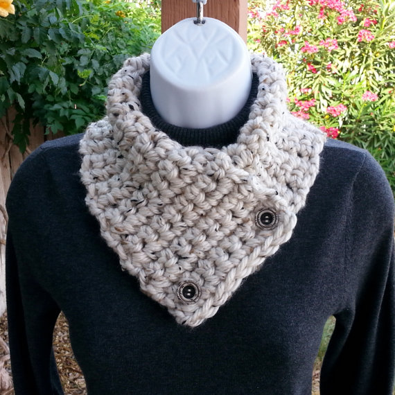 NECK WARMER SCARF, Small Crochet Knit Buttoned Cowl with ...