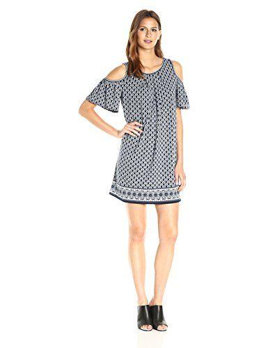 db315ca805b Max Studio Women s Printed Matte Jersey Cold Shoulder Dress