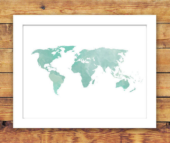 Mint Watercolor World Map Printable, INSTANT DOWNLOAD Printable