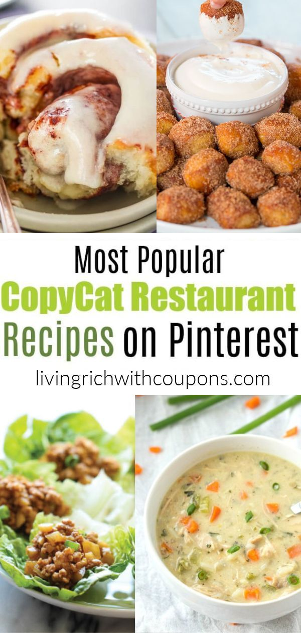 Discover 15 of the most Popular Copycat Restaurant Recipes on Pinterest! Eat in the comfort of your own home and save money with these delicious favorites. #copycatrecipes #restaurantrecipes #copycat
