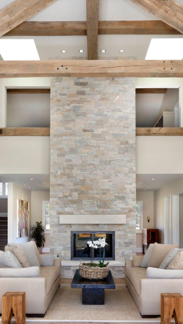 50 Beautiful Modern Farmhouse Living Room Decor Ideas: 50 Sensational Stone Fireplaces To Warm Your Senses