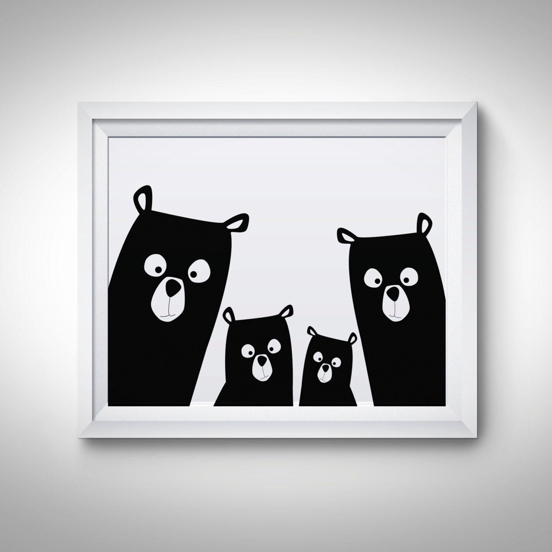 Bear family nursery print bear art poster black and white modern