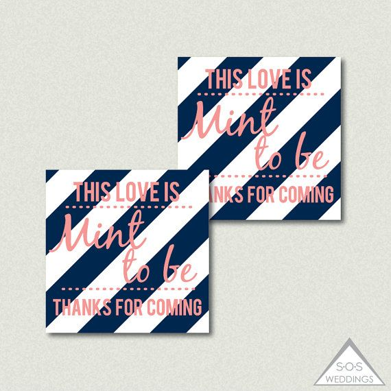 Mint To Be Favor Tags Favors Printable Wedding Navy And